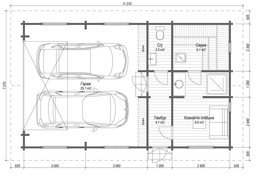 Планировка бани с гаражем