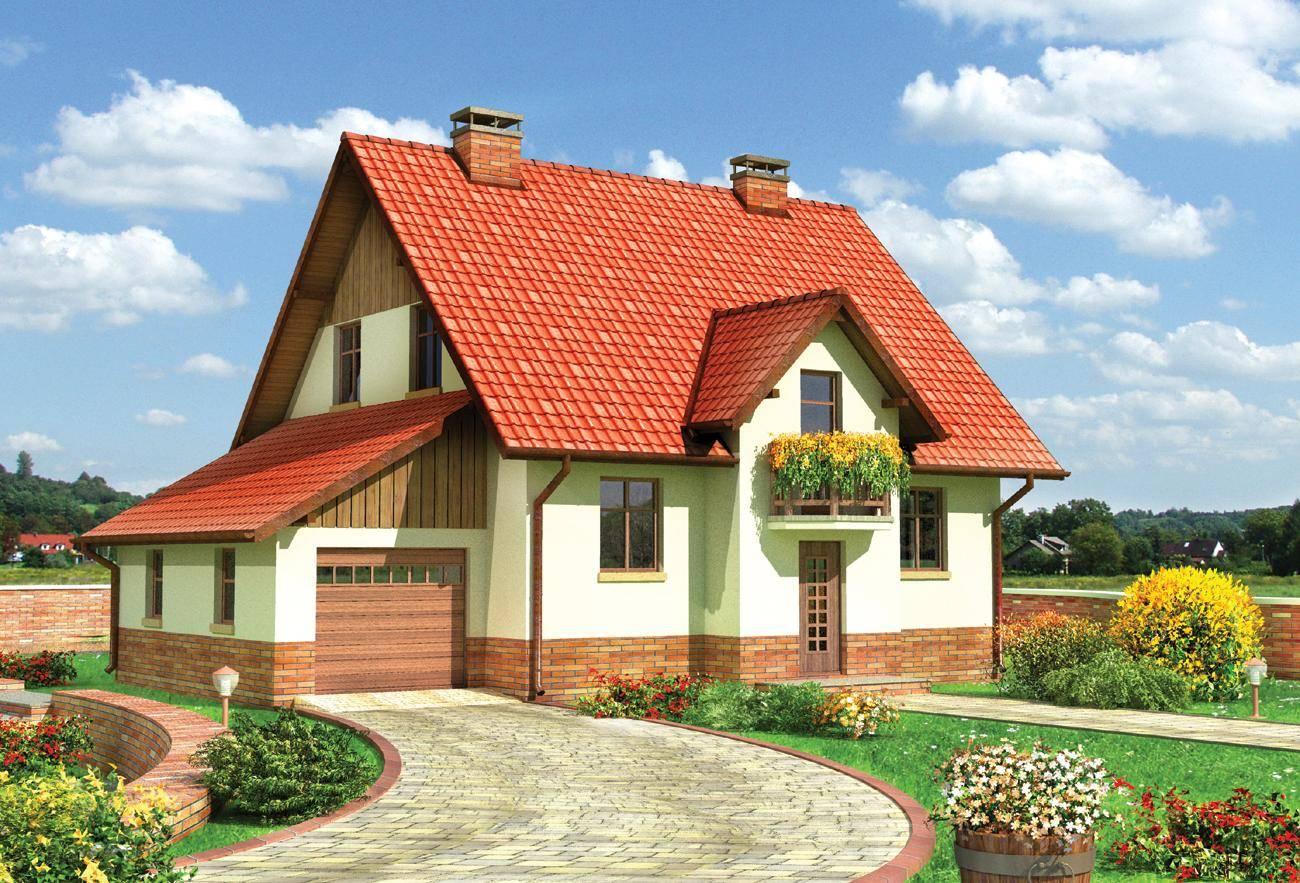 Дом с гаражом и цветущей лужайкой