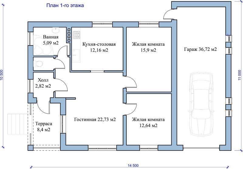 План будущей постройки первого этажа