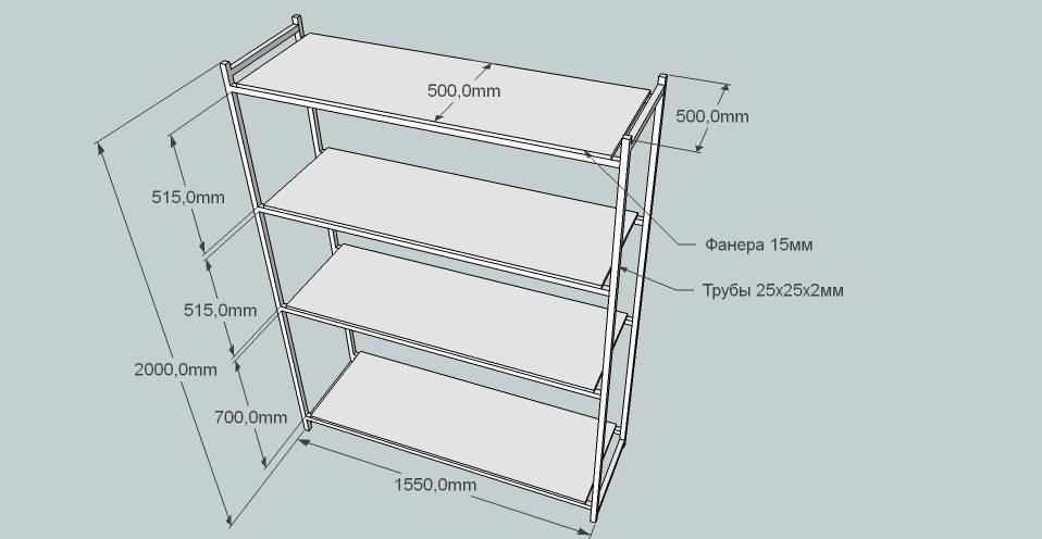 Приблизительные размеры стандартной гаражной полки
